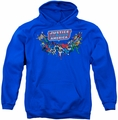Justice League pull-over hoodie Here They Come adult royal blue