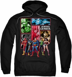 Justice League pull-over hoodie JLA Panels adult black