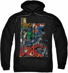 Justice League pull-over hoodie Lettered League adult black