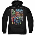 Justice League pull-over hoodie New JLA Panels adult black