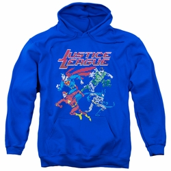 Justice League pull-over hoodie Pixel League adult royal blue