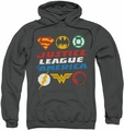 Justice League pull-over hoodie Pixel Logos adult charcoal