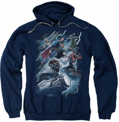 Justice League pull-over hoodie Ride The Lightening adult navy