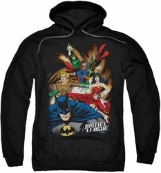 Justice League pull-over hoodie Starburst adult black