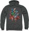 Justice League pull-over hoodie Starburst adult charcoal
