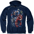 Justice League pull-over hoodie Storm Chasers adult navy