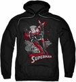 Justice League pull-over hoodie Superman Red & Gray adult black