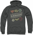 Justice League pull-over hoodie Symbols adult charcoal