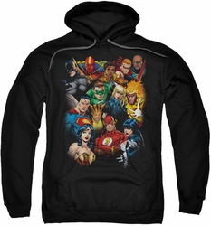 Justice League pull-over hoodie The League's All Here adult black