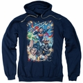 Justice League pull-over hoodie Under Attack adult navy
