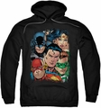 Justice League pull-over hoodie Up Close And Personal adult black