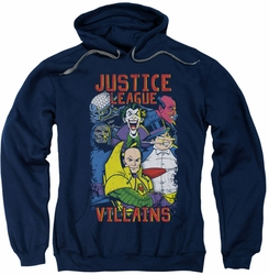 Justice League pull-over hoodie Villains adult navy