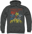 Justice League pull-over hoodie World's Best adult charcoal
