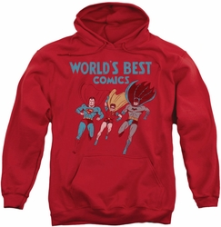 Justice League pull-over hoodie Worlds Best Comics adult red