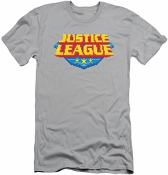 Justice League slim-fit t-shirt 8 Bit Logo mens silver