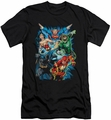 Justice League slim-fit t-shirt Assemble mens black