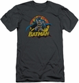 Justice League slim-fit t-shirt Batman Rough Distress mens charcoal