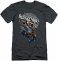 Justice League slim-fit t-shirt Deathstroke Retro mens charcoal