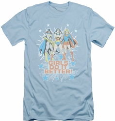 Justice League slim-fit t-shirt Girls Do It Better mens light blue