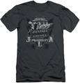 Justice League slim-fit t-shirt Greatest Heroes mens charcoal