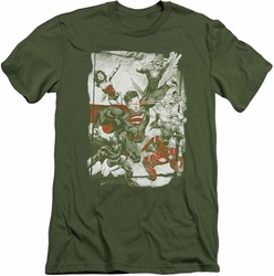 Justice League slim-fit t-shirt Green And Red mens military green
