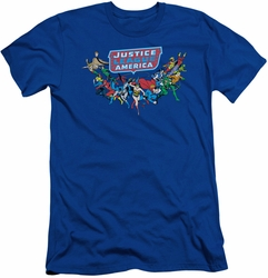 Justice League slim-fit t-shirt Here They Come mens royal blue