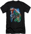 Justice League slim-fit t-shirt Heroes Unite mens black