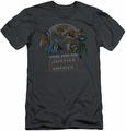 Justice League slim-fit t-shirt Join Up mens charcoal