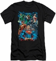 Justice League slim-fit t-shirt Justice Is Served mens black
