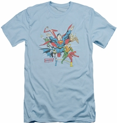 Justice League slim-fit t-shirt Lead The Charge mens light blue