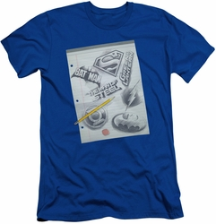 Justice League slim-fit t-shirt Logo Note Paper mens royal blue