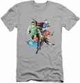 Justice League slim-fit t-shirt Mashup mens silver