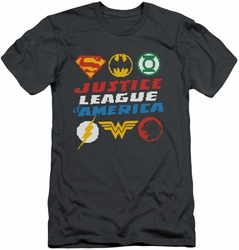 Justice League slim-fit t-shirt Pixel Logos mens charcoal