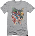 Justice League slim-fit t-shirt Refuse To Give Up mens silver