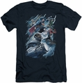 Justice League slim-fit t-shirt Ride The Lightening mens navy