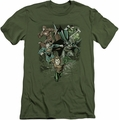 Justice League slim-fit t-shirt Spacing Out mens military green