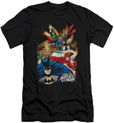 Justice League slim-fit t-shirt Starburst mens black