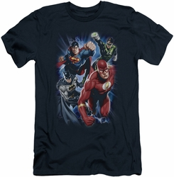 Justice League slim-fit t-shirt Storm Chasers mens navy