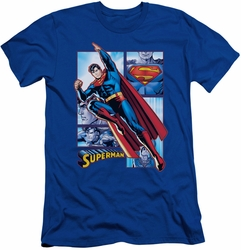 Justice League slim-fit t-shirt Superman Panels mens royal
