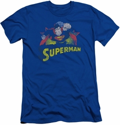 Justice League slim-fit t-shirt Superman Rough Distress mens royal