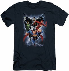 Justice League slim-fit t-shirt The Coming Storm mens navy