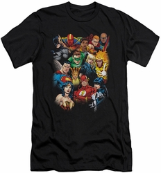 Justice League slim-fit t-shirt The League's All Here mens black