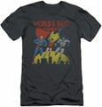 Justice League slim-fit t-shirt World'S Best mens charcoal