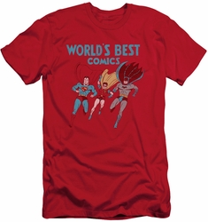 Justice League slim-fit t-shirt Worlds Best mens red
