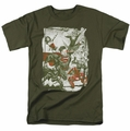 Justice League t-shirt Green And Red mens military green
