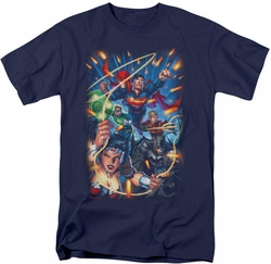 Justice League t-shirt Under Attack mens navy