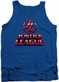 Justice League  tank top 8 Bit Jla mens royal blue