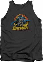 Justice League  tank top Batman Rough Distress mens charcoal