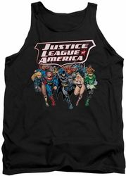 Justice League  tank top Charging Justice mens black