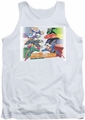 Justice League  tank top Evildoers Beware mens white